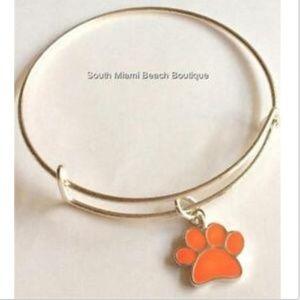 Jewelry - Silver Paw Print Charm Bracelet Cat Dog Clemson